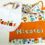 Babero y bolsa de merienda personalizadas, curso de ropa para bebe