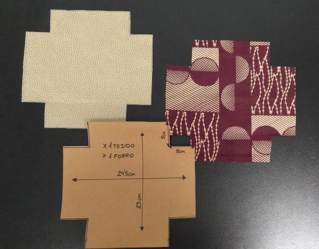 Vista de patrón y piezas cortadas de la cesta pongotodo