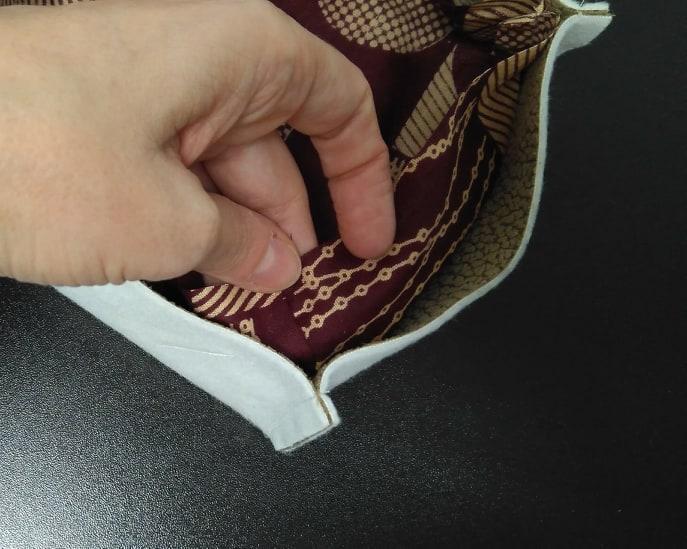 Costuras de de esquina cesta pongotodo