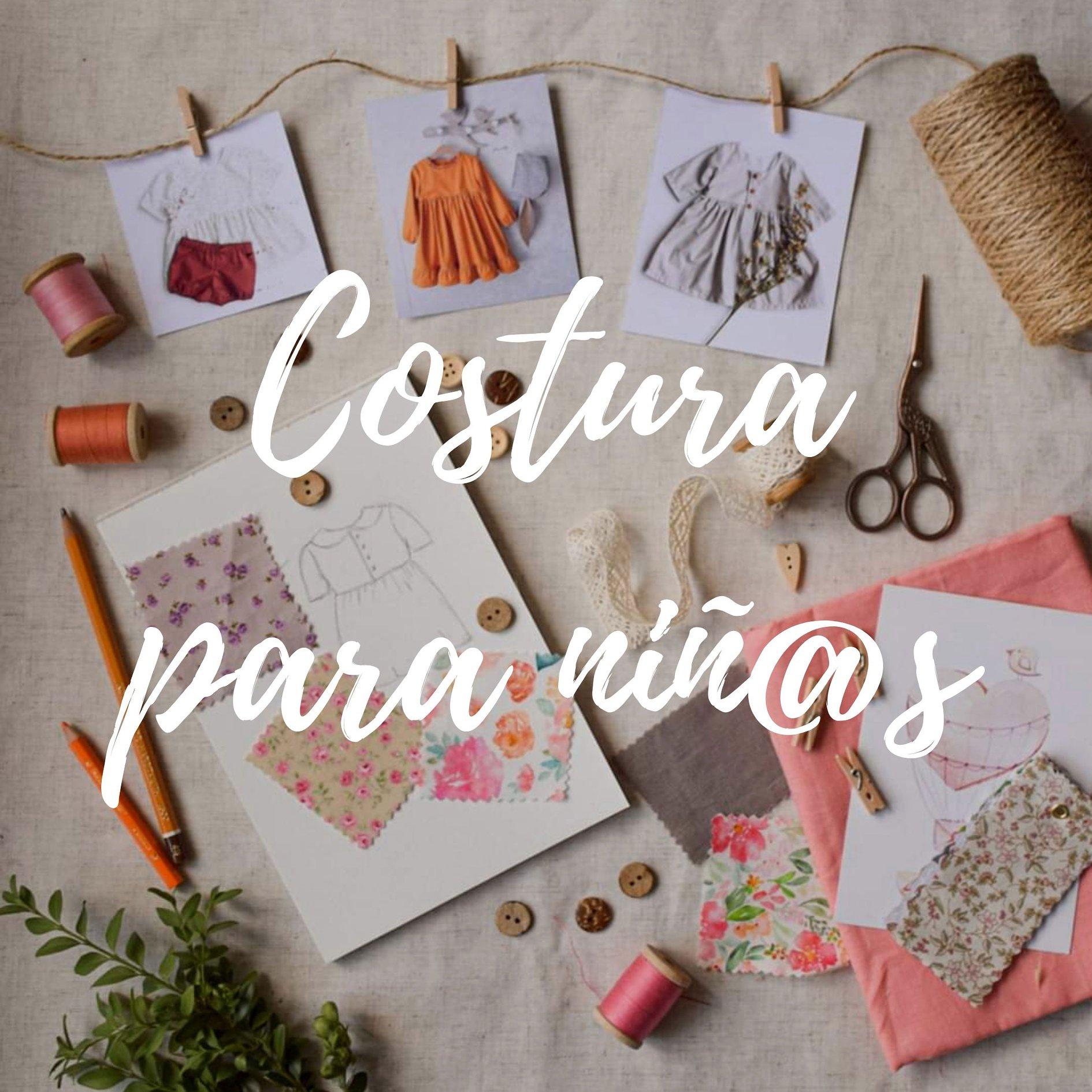 Cartel de curso de costura para niñas-os